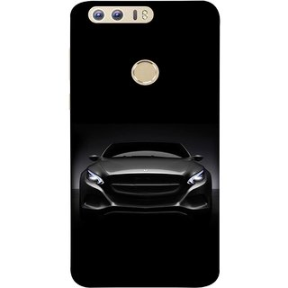 FUSON Designer Back Case Cover For Huawei Honor 8 (Road Black White Clouds Beautiful Road Blue Side Mirror)