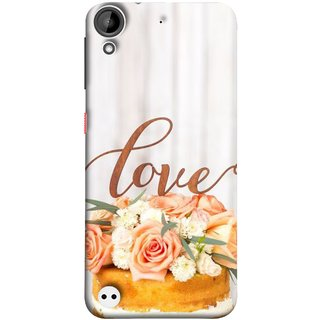 FUSON Designer Back Case Cover For HTC Desire 530 (Cake Pink Rose Birthday & Decoration Ceremony Lily)