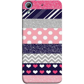 FUSON Designer Back Case Cover For HTC Desire 728 Dual Sim :: HTC Desire 728G Dual Sim (Colourful Patterns Hearts Lines Checks Dark Red )