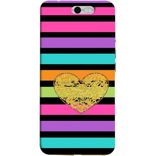 FUSON Designer Back Case Cover For InFocus M812 (Sprinkle Gold Glitter Heart Flag Hearts Valentine)