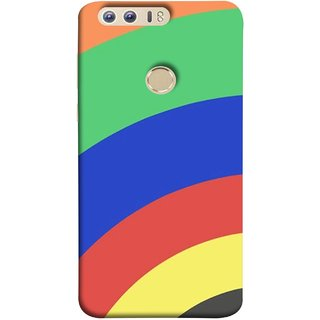FUSON Designer Back Case Cover For Huawei Honor 8 ( Large Medium Circles Orange Yellow Red Blue Grey)