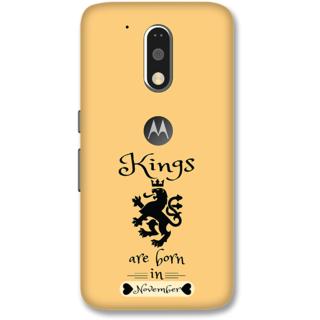 Moto G4 Plus Designer Hard-Plastic Phone Cover from Print Opera -Kings are born in november