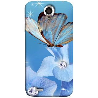 FUSON Designer Back Case Cover For Lenovo S820 (In Center Glitter Diamonds Flowers Butterfly Nature)