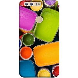 FUSON Designer Back Case Cover For Huawei Honor 8 (Cans And Paint On Colour Background Bright Full Joy )