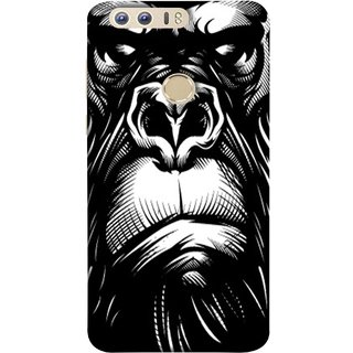 FUSON Designer Back Case Cover For Huawei Honor 8 (Animal Background Open Ears Black Hairs Jungle Nose)