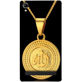 FUSON Designer Back Case Cover For Intex Aqua Power Plus :: Intex Aqua Power + (Allah Pendant Necklace For Men Middle East Necklaces)