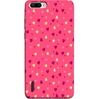 FUSON Designer Back Case Cover For Huawei Honor 6 Plus (Valentine Pink Metallic Cool Peace Sign Symbol Pillow)