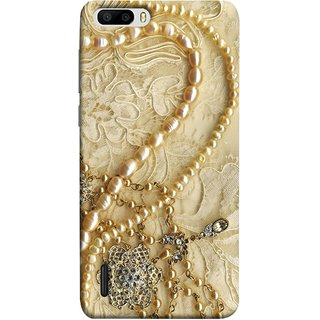 FUSON Designer Back Case Cover For Huawei Honor 6 Plus (Perals Diamonds Pendent Gold Hand Embroidery Stitches)