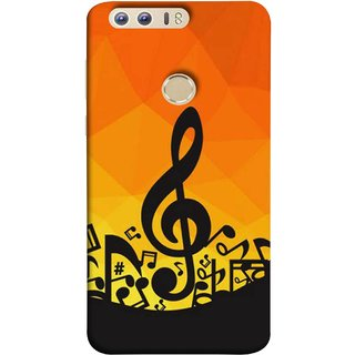 FUSON Designer Back Case Cover For Huawei Honor 8 (Disco Inferno Abstract Background With Musical Notes)
