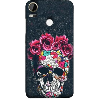 FUSON Designer Back Case Cover For HTC Desire 10 Pro ( Khopdi Kavti Gulab Lal Safed White )