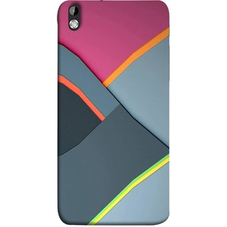 FUSON Designer Back Case Cover For HTC Desire 816 :: HTC Desire 816 Dual Sim :: HTC Desire 816G Dual Sim (Bright Beautiful Colour Strips And Band Wave Triangle)