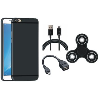 Vivo V7 Plus Silicon Anti Slip Back Cover with Spinner, OTG Cable and USB Cable