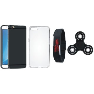 Vivo V7 Plus Silicon Anti Slip Back Cover with Spinner, Silicon Back Cover, Digital Watch