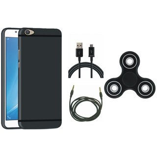 Vivo V7 Plus Silicon Anti Slip Back Cover with Spinner, USB Cable and AUX Cable