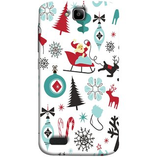 FUSON Designer Back Case Cover For Huawei Honor Holly (Santaclaus New Year Igloo Snowflakes Candy Cane )