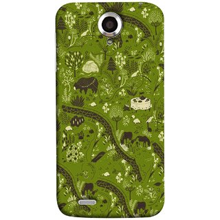 FUSON Designer Back Case Cover For Lenovo S820 (Green Grass Cow Mushrooms Leaves Branches )