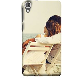 FUSON Designer Back Case Cover For HTC Desire 825 (Beautiful Husband Wife Lovers Valentines Sitting Sea Shore)