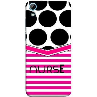 FUSON Designer Back Case Cover For HTC Desire 826 :: HTC Desire 826 Dual Sim (Pink Design Paper Big Black Circles Bubbles Nurse Doctor)