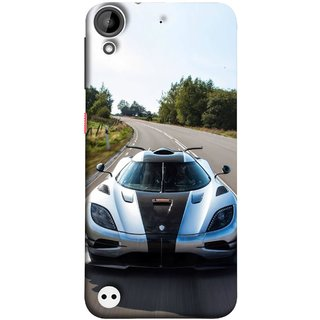 FUSON Designer Back Case Cover For HTC Desire 530 (Clouds Beautiful Silver Sports Car Led American Cars)
