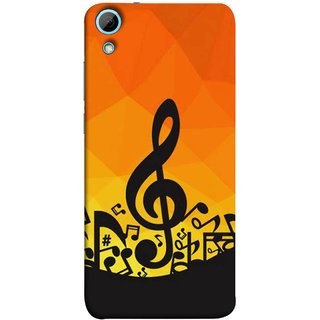 FUSON Designer Back Case Cover For HTC Desire 826 :: HTC Desire 826 Dual Sim (Disco Inferno Abstract Background With Musical Notes)