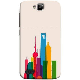 FUSON Designer Back Case Cover For Huawei Honor Holly (Astounding Skyscrapers Of Remarkable Architectural)