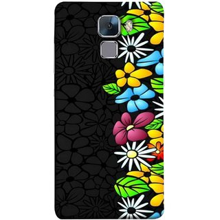 FUSON Designer Back Case Cover For Huawei Honor 7 :: Huawei Honor 7 (Enhanced Edition) :: Huawei Honor 7 Dual SIM (Multicolour Flowers Phul Gray Geen Leaves Beautiful)