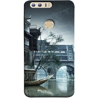 FUSON Designer Back Case Cover For Huawei Honor 8 (Vintage Look Tturist Boat In An Amsterdam Canal Surrounded)