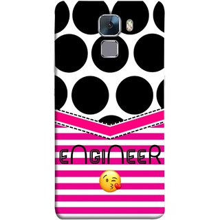 FUSON Designer Back Case Cover For Huawei Honor 7 :: Huawei Honor 7 (Enhanced Edition) :: Huawei Honor 7 Dual SIM (Kissing Smileyengineering Nice Semister Pink Design Paper)