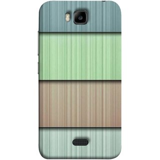 FUSON Designer Back Case Cover For Huawei Honor Bee :: Huawei Honor Bee Y5c (Strips Green Gray Sunmica Plywood Back Art)