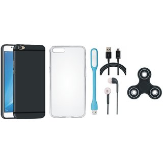 Samsung J5 Prime Back Cover with Spinner, Silicon Back Cover, Earphones, USB LED Light and USB Cable