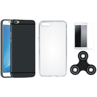 Vivo V5 Silicon Anti Slip Back Cover with Spinner, Silicon Back Cover, Tempered Glass