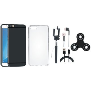 Vivo V5 Silicon Slim Fit Back Cover with Spinner, Silicon Back Cover, Selfie Stick, Earphones and USB Cable