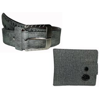 Divya New  Fashion India Combo Men's Grey Belt+ Grey Denim Wallet with Button