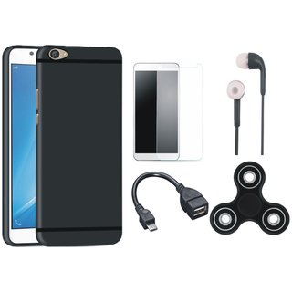 Oppo F5 Soft Silicon Slim Fit Back Cover with Spinner, Tempered Glass, Earphones and OTG Cable