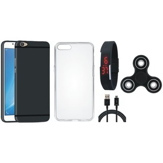 Oppo A37 Silicon Anti Slip Back Cover with Spinner, Silicon Back Cover, Digital Watch and USB Cable