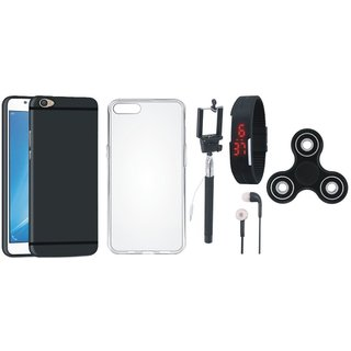 Oppo F5 Soft Silicon Slim Fit Back Cover with Spinner, Silicon Back Cover, Selfie Stick, Digtal Watch and Earphones