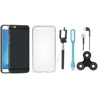 Oppo F5 Soft Silicon Slim Fit Back Cover with Spinner, Silicon Back Cover, Selfie Stick, Earphones and USB LED Light