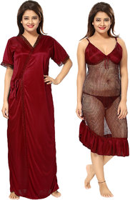 Be You Maroon Solid Women Nighty with Robe