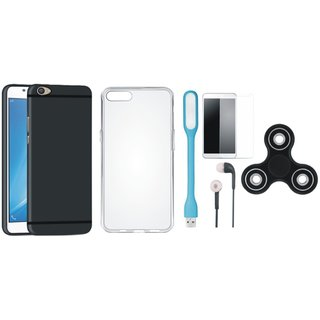 Oppo F5 Soft Silicon Slim Fit Back Cover with Spinner, Silicon Back Cover, Tempered Glass, Earphones and USB LED Light