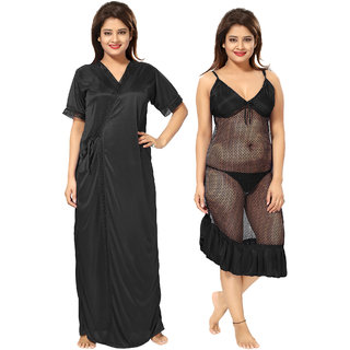 Be You Black Solid Women Nighty with Robe