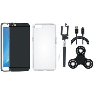 Oppo F5 Silicon Slim Fit Back Cover with Spinner, Silicon Back Cover, Selfie Stick and USB Cable