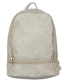 1e0b9efdda54 Buy Fiona Trends Light Grey PU Zipper Backpack For Women Online - Get 78%  Off