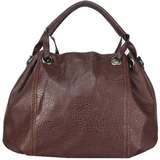 Fiona Trends Dark Coffee PU Zipper Shoulder Bag For Women