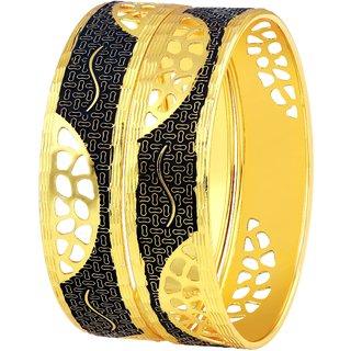 Asmitta Exquitely Meena Work Half Circle Net Design Gold Plated Bangle For Women
