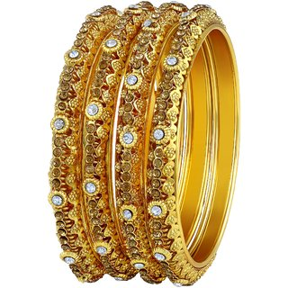 Asmitta Modish Traditional Gold Plated White Stone Bangle Set For Women