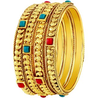 52dcfe65fcb63 Asmitta Stylish Traditional Gold Plated Red & Green Kundan Bangle Set For  Women