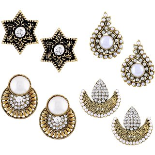 8578778c5 Buy Asmitta Designer Stud Gold Plated Combo of 4 Earring For Women Online -  Get 78% Off