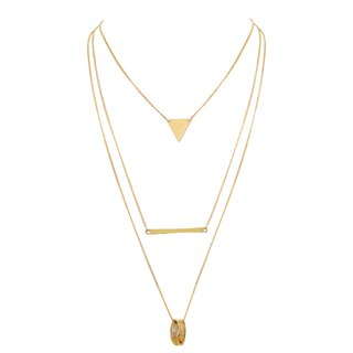 Asmitta Sleek 3 String Round Triangle  Rectangle Shape Gold Plated Rope Style Necklace For Women