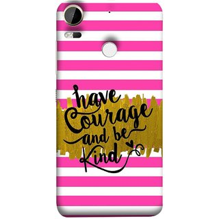 FUSON Designer Back Case Cover For HTC Desire 10 Pro (Pink And White Horizontal Strips Gold Paint Black Font)