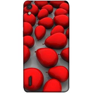 FUSON Designer Back Case Cover For Huawei Ascend P7 (Balloons Red Love Dark Gift Motivational)